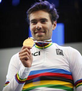 Born Italia Tom Dumoulin medaglia d'oro prova a tempo del campionato del Mondo su strada uomini 2017 il 20 settembre 2017 a Bergen, Norvegia