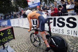 Born Italia Tom Dumoilin cronometro prova a tempo del campionato del Mondo su strada uomini 2017 il 20 settembre 2017 a Bergen, Norvegia